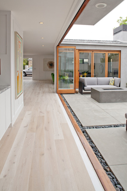 Solid French  Wire Brushed White Oak contemporary-hall