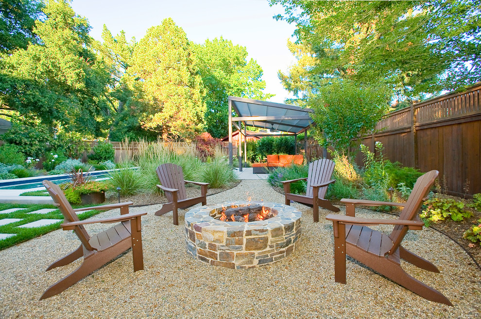 Trendy backyard patio photo in San Francisco with a fire pit
