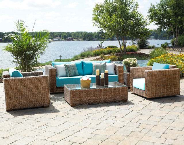 Attractive South Beach Outdoor Wicker Furniture Traditional Patio