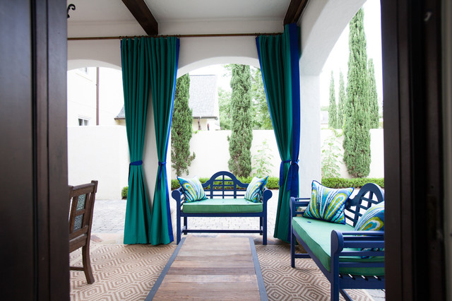 Mediterranean Patio by Laura U, Inc. - Wonderful Ways To Hang Outdoor Curtains