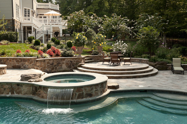 Spa with Waterfall eclectic-pool