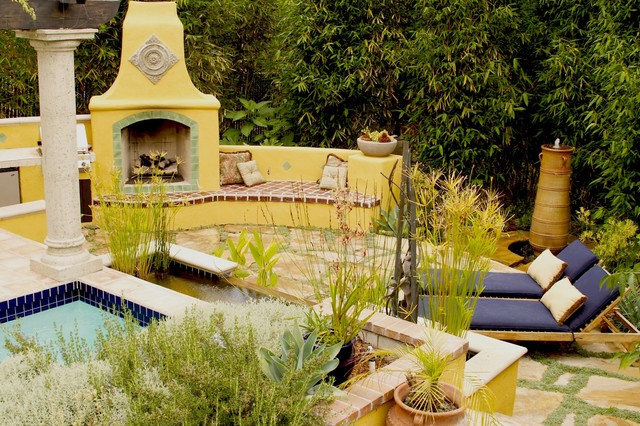 Photo Of A Mediterranean Landscaping In San Luis Obispo With Fire Pit