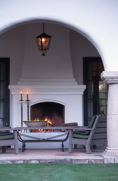 Spanish colonial cottage traditional patio phoenix for Spanish style fireplace