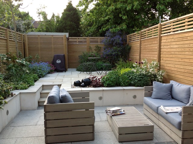 Great Split Level Courtyard Garden Contemporary Patio