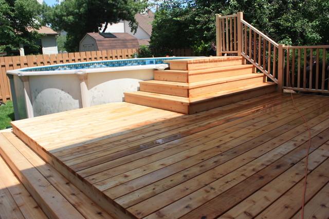 Spring 2012 platform deck to aboveground pool for Pool platform ideas