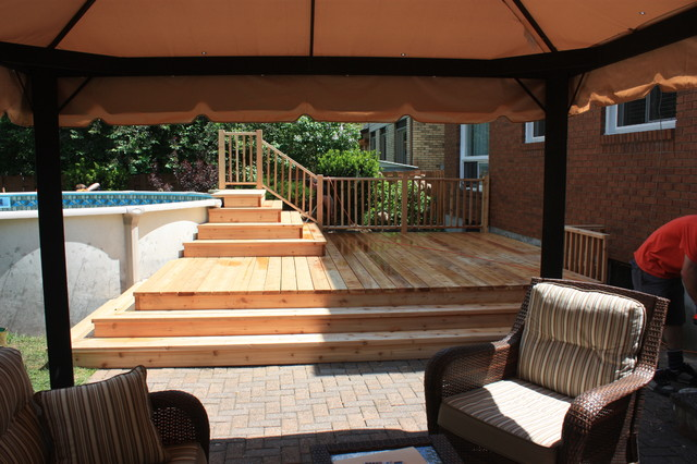 Backyard ideas with above ground pools - Spring 2012 Platform Deck To Aboveground Pool Contemporary Patio
