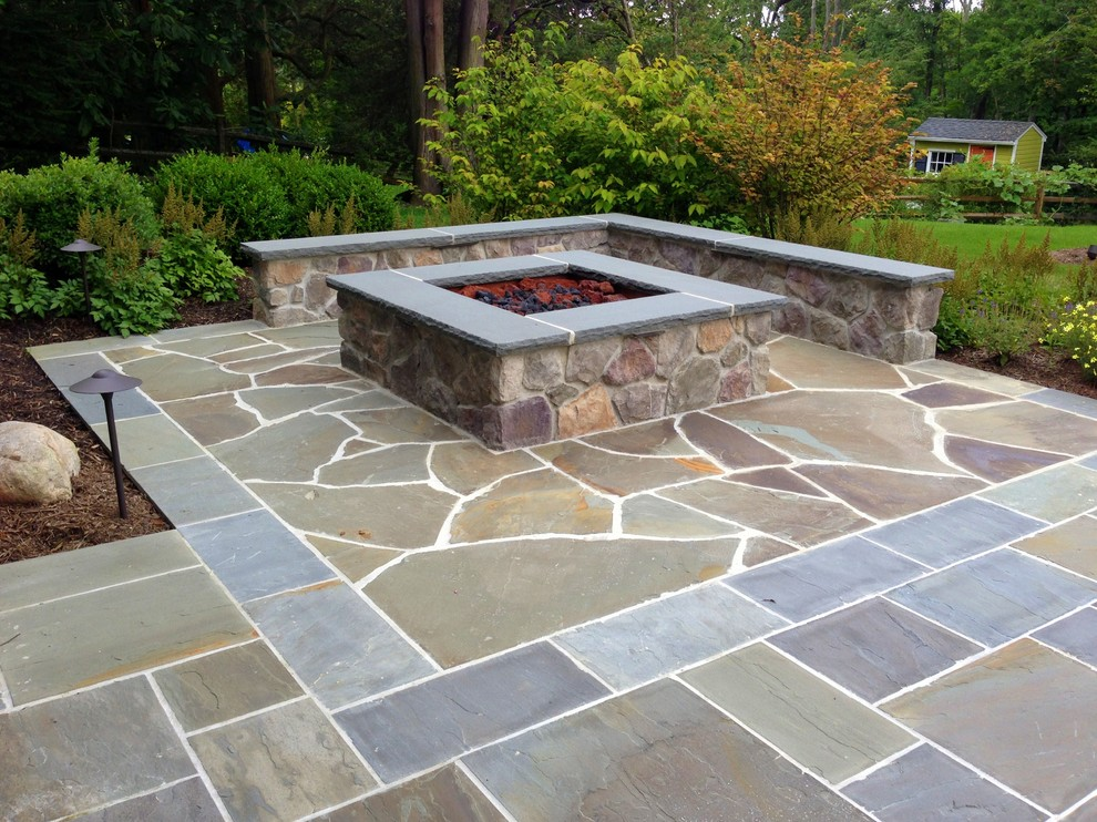 Square gas-fueled fire pit. Summit, NJ - Contemporary - Patio - New York -  by Apple Tree Landscapes, Inc.