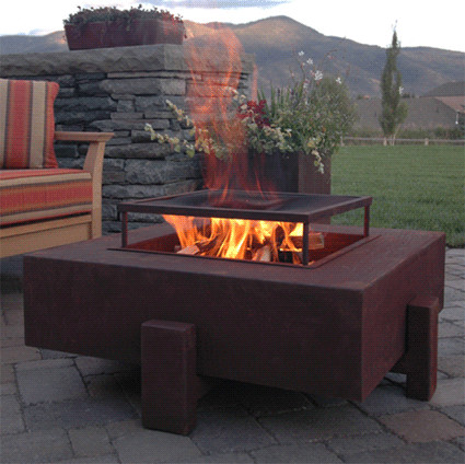 Square Patio Fire Pit contemporary firepits