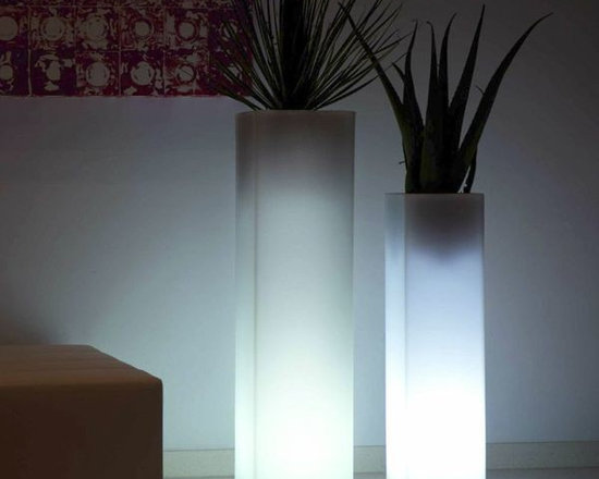 Square Tower Illuminated Outdoor Planter - This illuminated outdoor planter is available with LED lighting in multiple colors or a style with a fluorescent bulb that displays only white light.