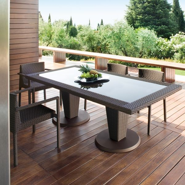 St tropez outdoor wicker dining table and chairs modern for Patio table and chairs sale