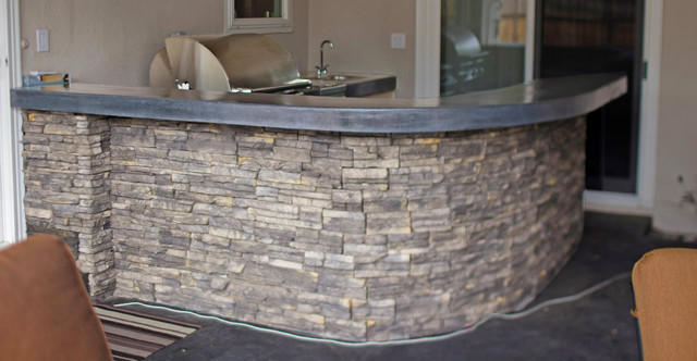 Stacked Stone Barbecue Island Transitional Patio