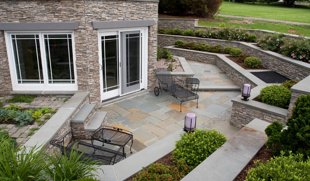 Stacked Stone Patio With Wrought Iron Patio Furniture Traditional Patio