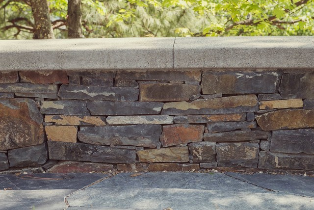 Cement Wall Caps : Stacked stone wall with concrete seat cap rustic patio