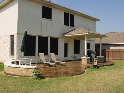 Stained concrete patio traditional-patio