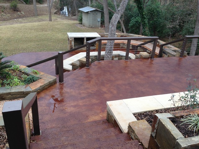 Genial Stained Concrete Patio, Planter Walls And Steel Wire Railing By Perfect  Lawns Patio