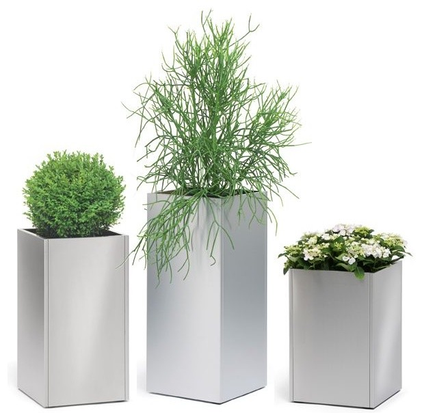 stainless steel outdoor planters modernpatio