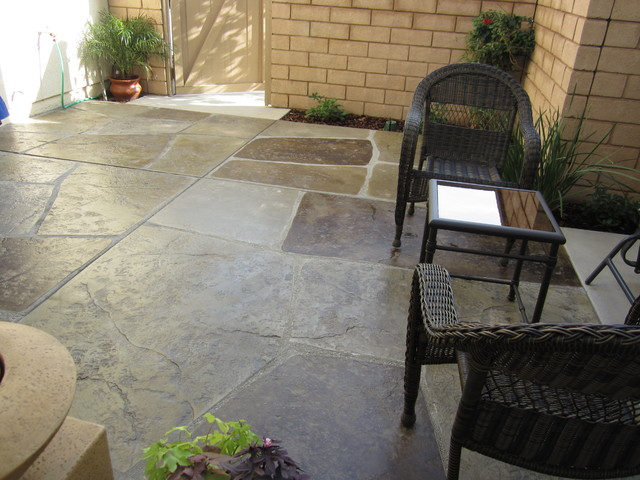Stamped and colored concrete \