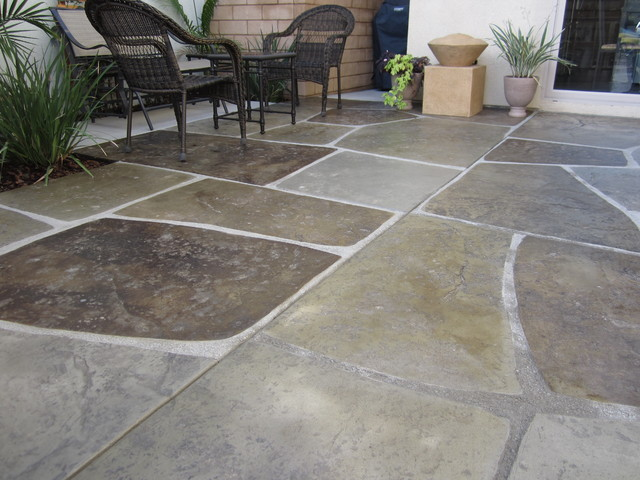 stamped and colored concrete imported stone patio