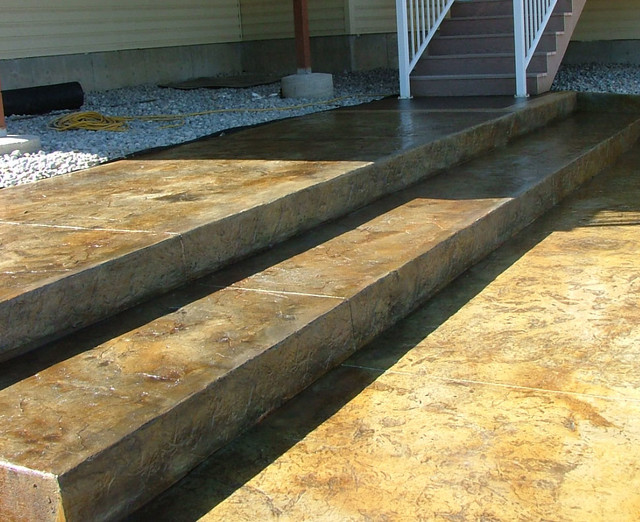 Stamped And Stained Concrete Steps And Patio Rustic