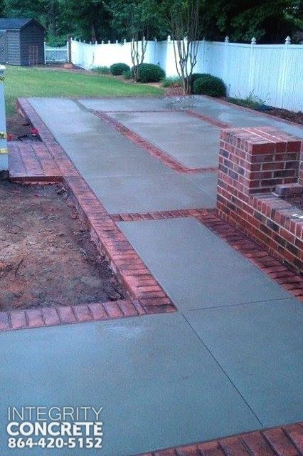 Stamped Concrete Brick Border Traditional Patio