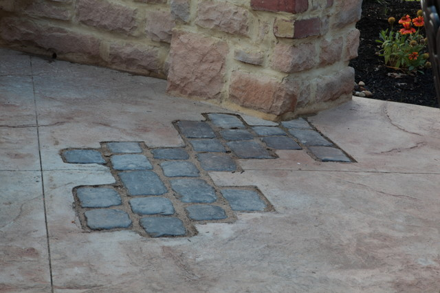 Stamped Concrete Outdoor Kitchen with Paver Inlays modern-patio