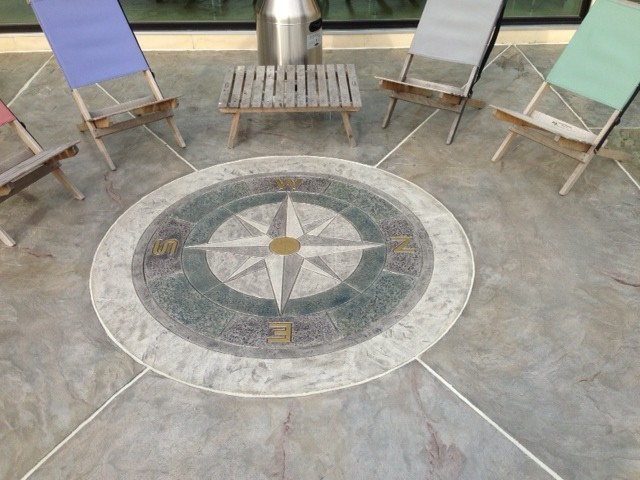 Stamped Concrete Overlay  Compass Beach Style Patio