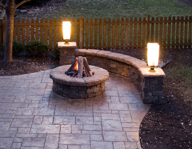 Superb Stamped Concrete Patio, Gas Fire Pit, Stone Walls And Lighting Traditional  Patio
