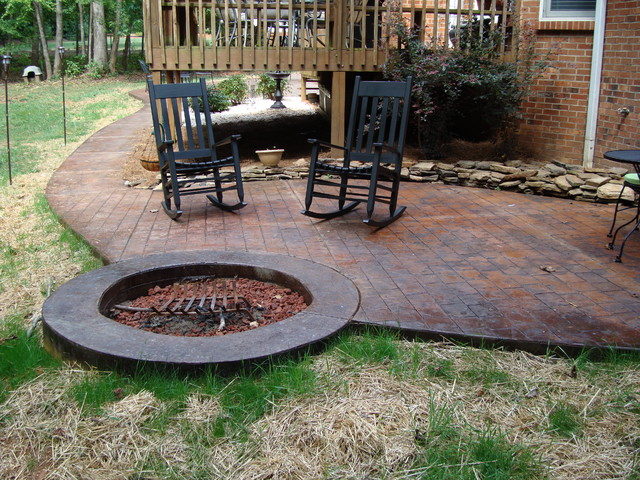 Captivating Stamped Concrete Patio With Fire Pit Traditional Patio
