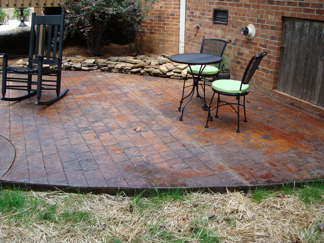 Stamped Concrete Patio With Fire Pit Patio
