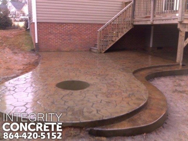 Stamped Concrete Patio With Fire Pit Traditional