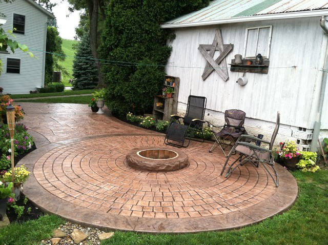 Stamped Concrete Patio With Fire Ring Sugarcreek Ohio Traditional Patio