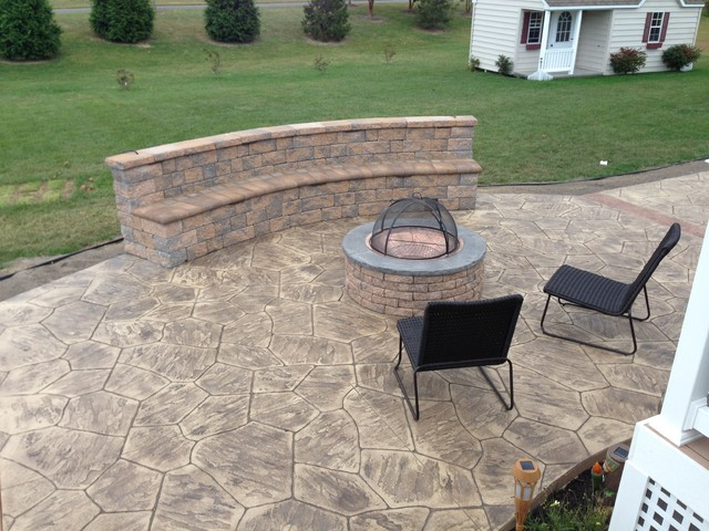 Patio - patio idea - Stamped Concrete Patios With Seating Wall And Fire Pit