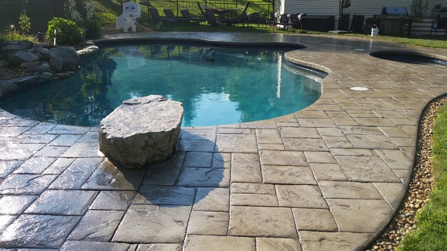 Stamped Concrete Pool Deck And Patio Sealed With Ar350 By