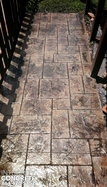 Stamped Concrete Sidewalk Entry To Pool Traditional