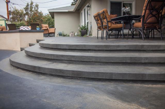 Stamped Concrete Steps Transitional Patio Orange