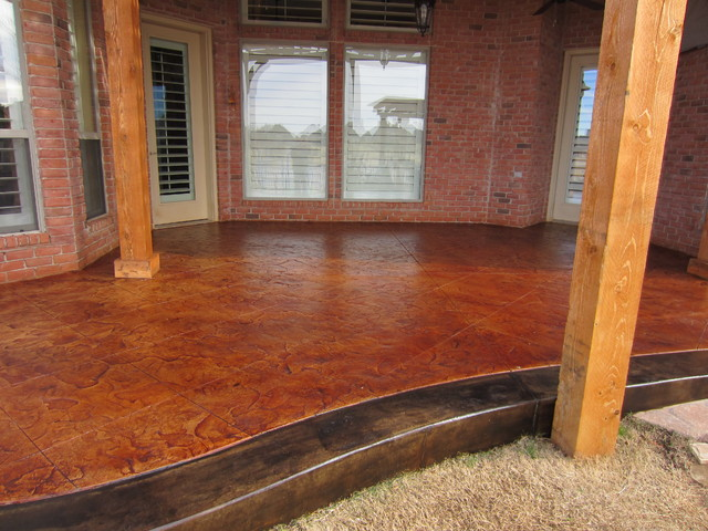 Stamped/Stained Patio with Pergola traditional-patio