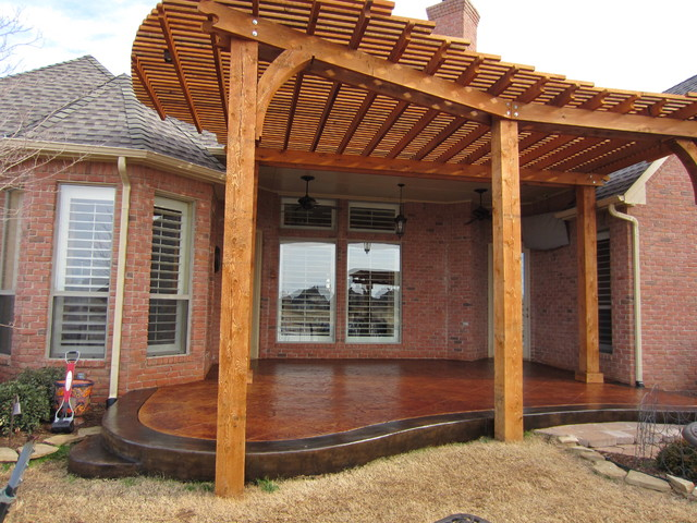 Advanced Concrete Designs, Inc · Specialty Contractors. Stamped/Stained  Patio with Pergola traditional-patio - Stamped/Stained Patio With Pergola - Traditional - Patio - Oklahoma
