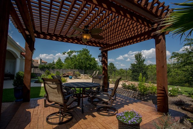 Stand Alone Pergola Designs : Stand alone pergola with beautiful pool landscaping