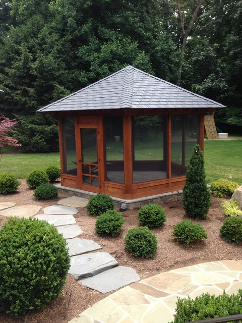 Stand alone screened porch on stone patio contemporary for What is a porch