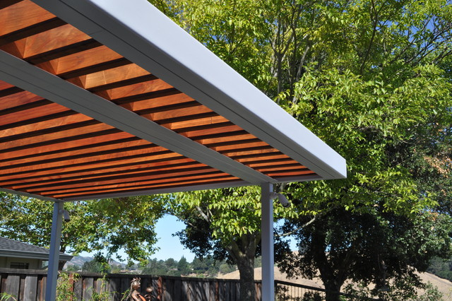 Steel and wood arbor modern patio san francisco by huettl