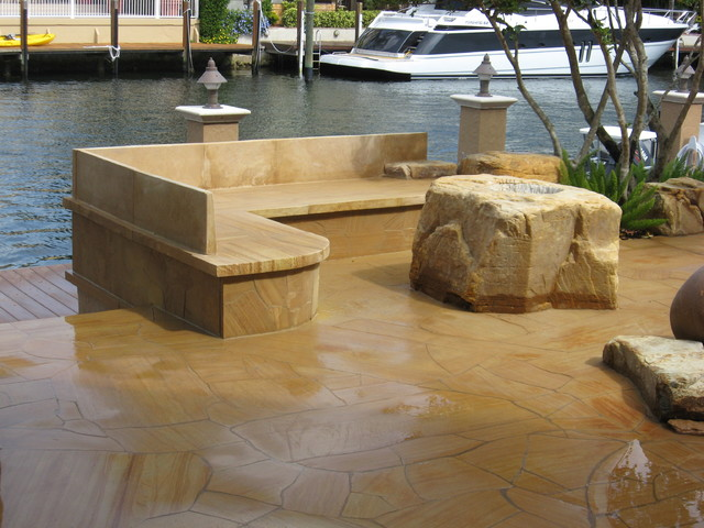 ... Stone Bench And Boulder Fire Pit In Lighthouse Point Florida  Contemporary Patio ...