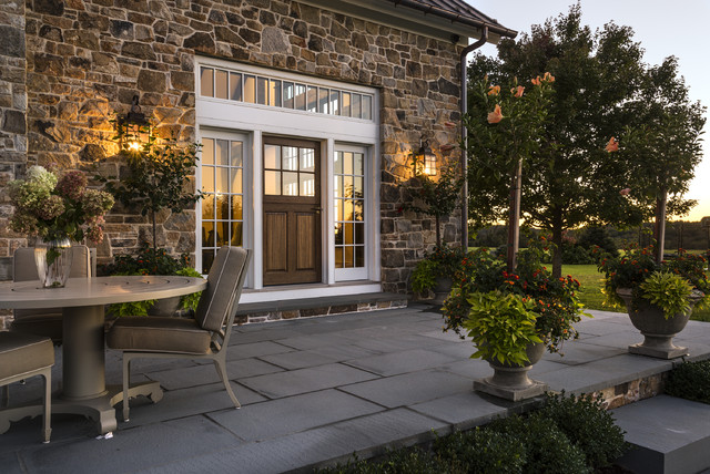 Stone Family Room Addition Farmhouse Patio New York