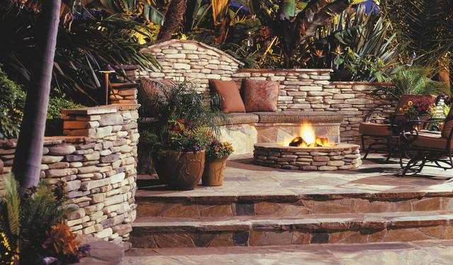 Stone fire pit for Eldorado outdoor fireplace