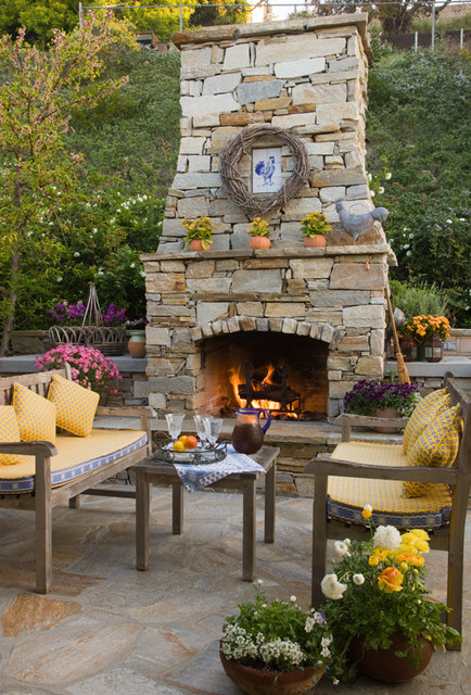 Flagstone Patio With Fireplace