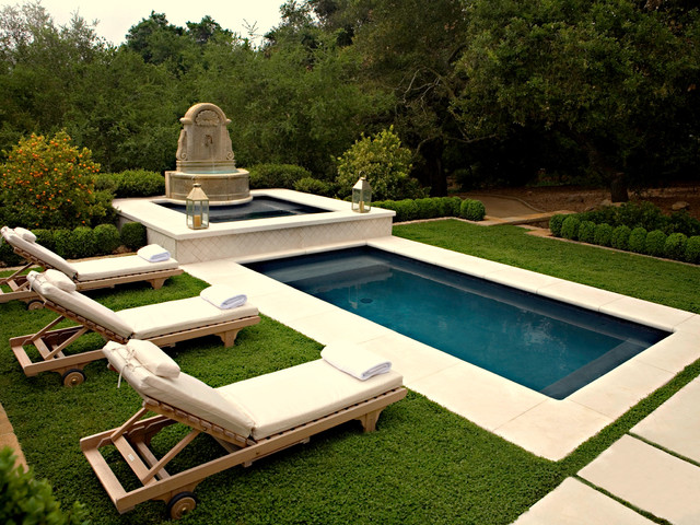 Stone fountain mediterranean patio santa barbara by eye of the day - House plans with pools outdoor sitting and beautiful garden ...