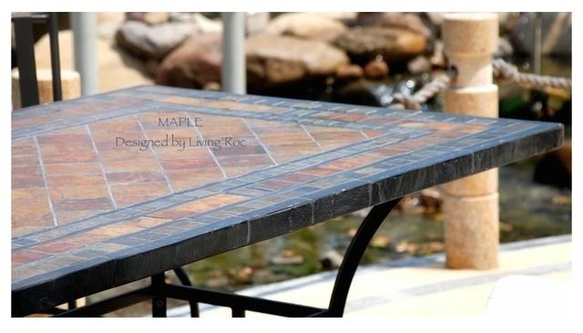 Stone Garden Patio Mosaic Slate Table 78 Maple Craftsman