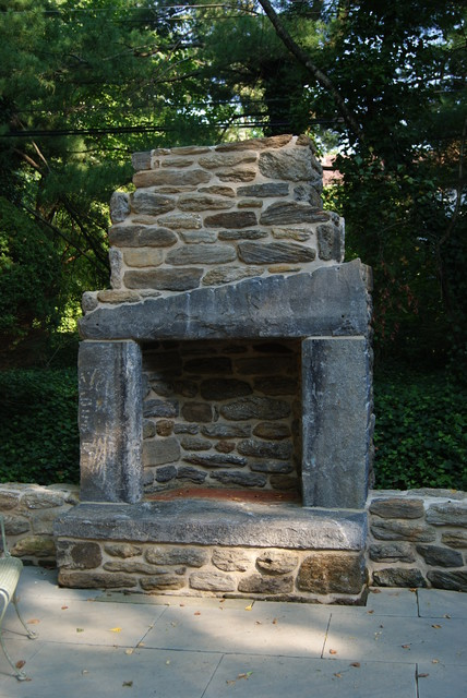 Stone Outdoor Fireplace Eclectic Patio Philadelphia