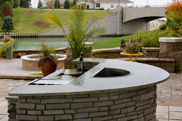 stone outdoor kitchen traditional patio omaha by olive branch