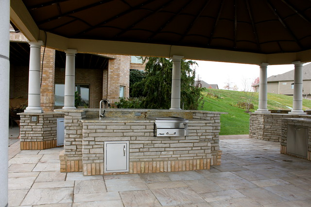 stone outdoor kitchen traditional patio omaha by