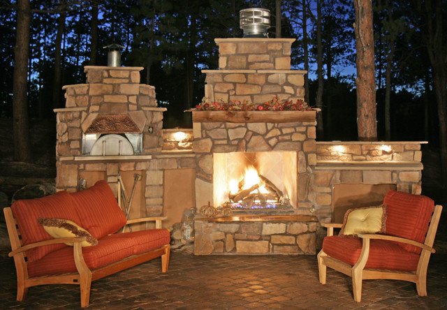 Stone Veneer Fireplace And Pizza Oven Traditional